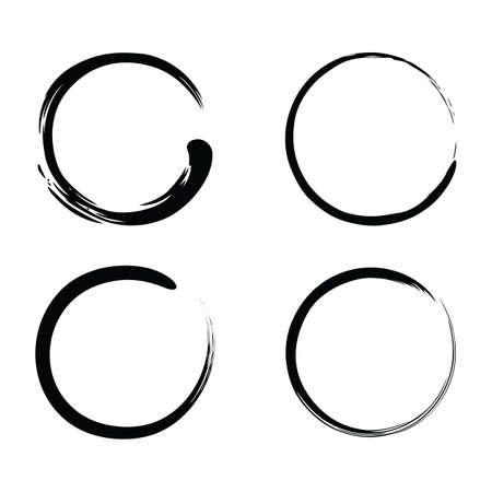 Enso Brush Strokes Zen inchiostro nero Vector Set