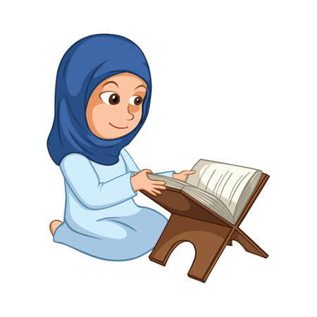 holy book: Cute Girl Reading Quran The Holy Book Of Islam