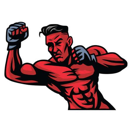 arts: MMA Fighter Mascot Vector Illustration