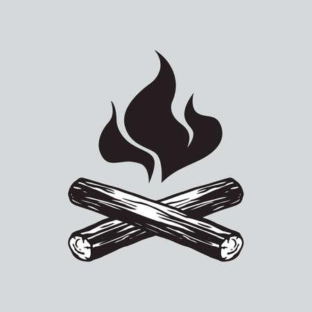 Icône de logo de vecteur de feu de camp Banque d'images - 69259169