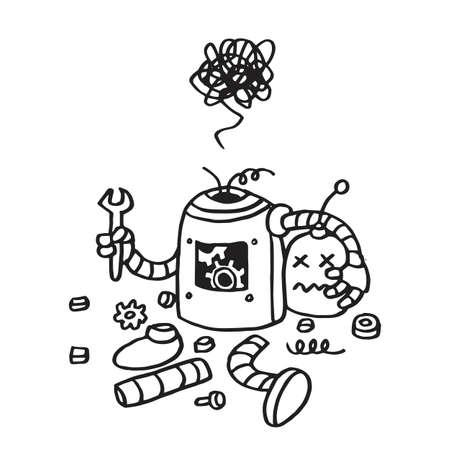 Page Not Found Error 404. Broken Robot Hand Drawn Vector Template Illustration