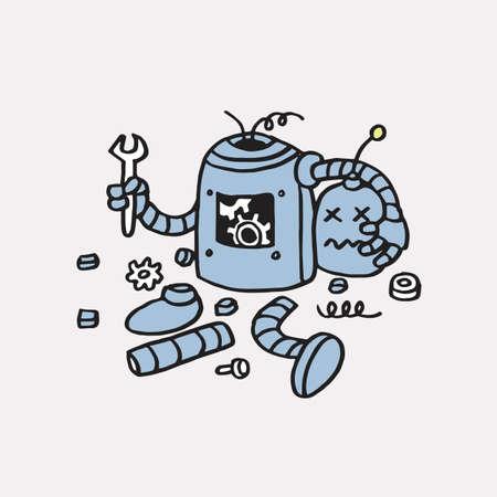 페이지 404 오류 찾을 수 없음. 깨진 로봇 손으로 그려진 벡터 템플릿 아이콘