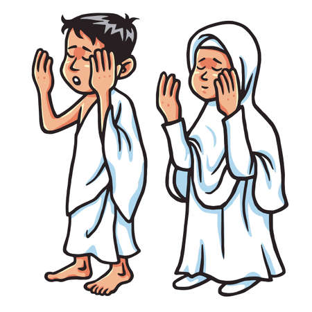 Boy And Girl Hajj Praying  Vector Illustration Ilustração