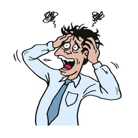 仕事で重点を置かれた人は、彼の頭をつかんでください。ビジネスマンのベクトル図
