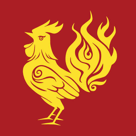 Fire Rooster Chinese New Year Gold Symbol 2017