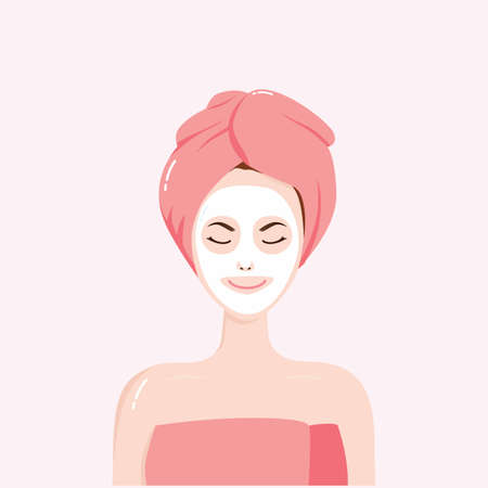 beauty woman face: Woman with Beauty Mask on the Face with Towel on Head Vector Illustration Clipart
