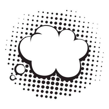 Vintage Pop Art Comics Speech Bubbles Vector Black and White Thinking Illustration Icon Ilustração