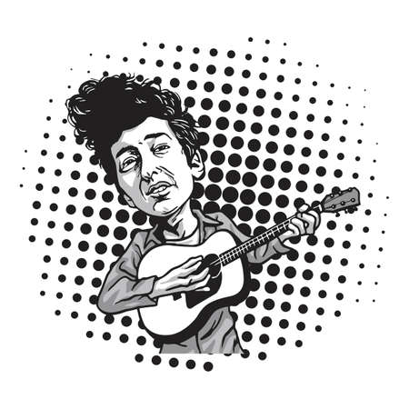 bob: Bob Dylan Cartoon Playing Guitar. Black and White Cartoon in Pop Art Background Vector Illustration