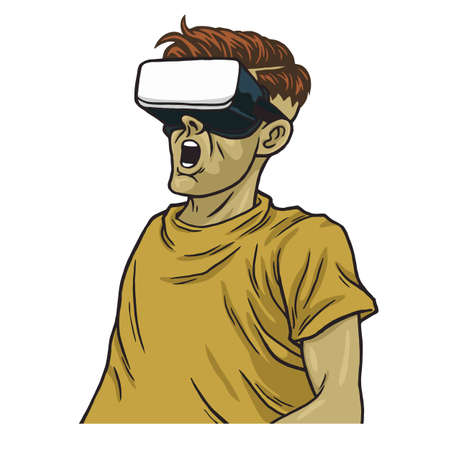 Man Wearing Virtual Reality Goggles Vector Illustration Clipart