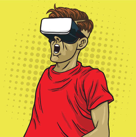 Virtual Reality Goggle Glasses Retro Science Fiction Yellow Pop Art Background