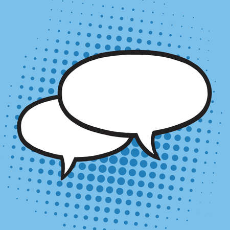 Chat Speech Balloons or Bubbles Pop Art Vector Illustration Icon. Blue Background Template