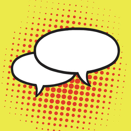 Chat Speech Balloons or Bubbles Pop Art Vector Illustration Icon. Yellow Background Template