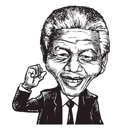 Nelson Mandela Hand Drawn Portrait Caricature Vector Illustration