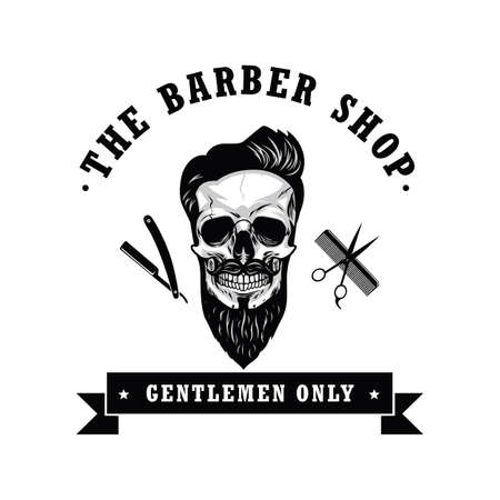 Schedel Vintage kapper Shop Logo Retro ontwerpsjabloon vectorillustratie