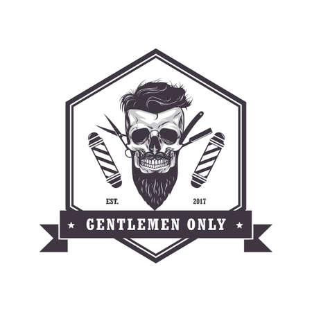 Hipster 해골 이발사 상점 육각형 로고 레트로 빈티지 디자인 템플릿 벡터 일러스트 레이션