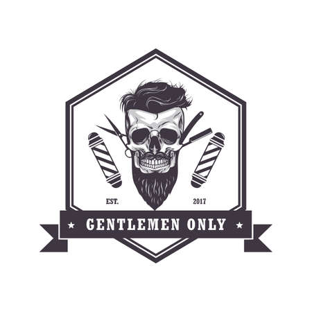Hipster Skull Barber Shop Hexagonal Logo Retro Vintage Design Template Vector Illustration Vettoriali