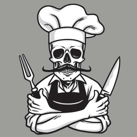 Dead Skull Chef Grinning with Fork, Knive, and Hat. Vector Drawing
