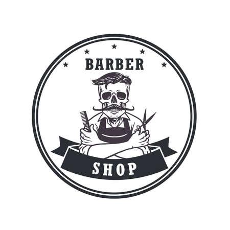 barbershop: Skull Barbershop Retro Vector