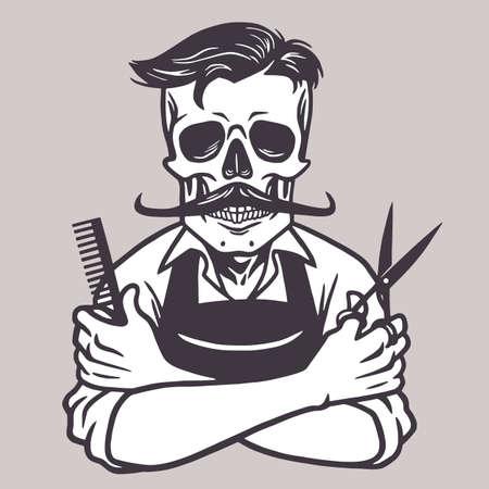Barberman Skull Vintage Drawing Vector