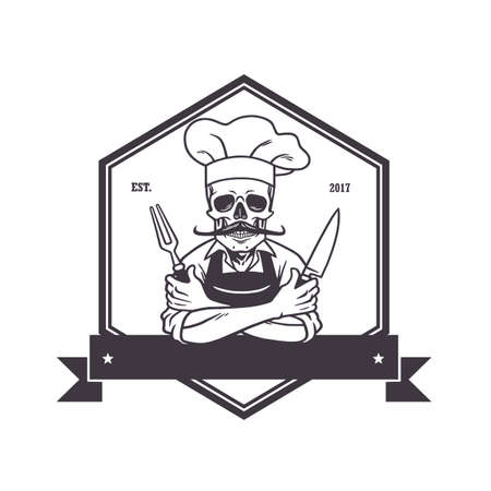 knive: Dead Skull Chef Grinning with Fork, Knive, and Hat. Restaurant Logo Template. Hexagon Vector Drawing