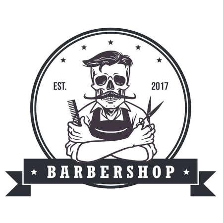 barbershop: Skull  Vintage Barbershop Logo Template
