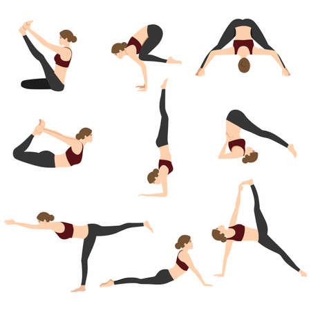 Posturas de yoga conjunto ilustración vectorial sobre fondo blanco
