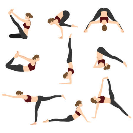 Yoga Poses Set Vector Illustration on White Background