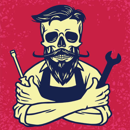 Skull Biker Mechanic Vector Design illustration.