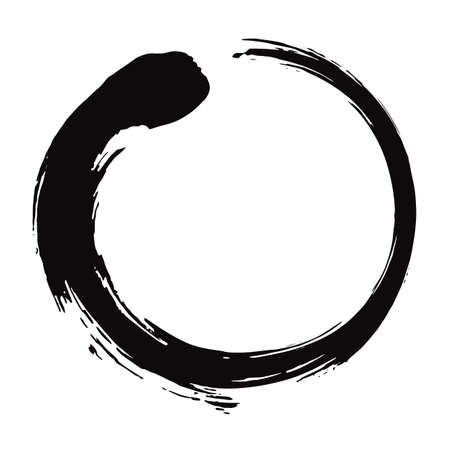 Zen Circle Brush Black Ink Vector Illustration.