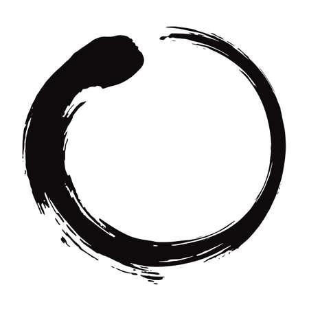 Zen cirkelborstel zwarte inkt vectorillustratie.
