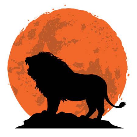 Lion snarling on a rock. Illustration