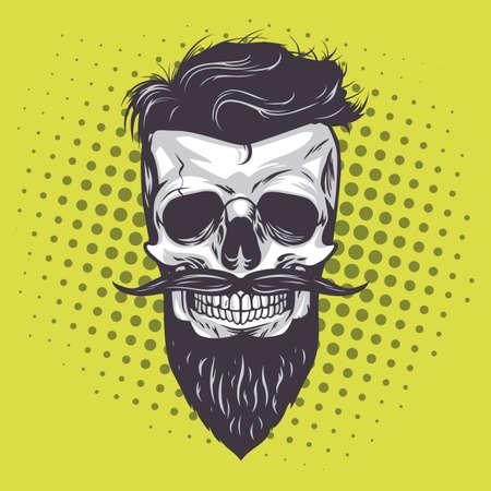 Hipster schedel popart vectorillustratie Vector Illustratie