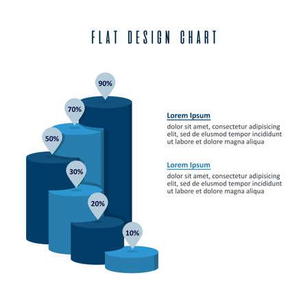 Tube Chart Info Graphics Elements Vector Flat Design Template Vettoriali