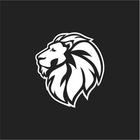 Icono de logotipo de león salvaje blanco y negro, diseño vectorial