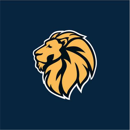 Wild Lion Logo Icon Navy Background Vector Design