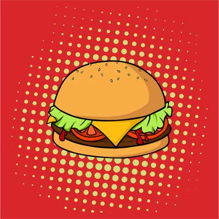맛있는 햄버거, 정크 푸드, 팝 아트 벡터 디자인, 일러스트레이션