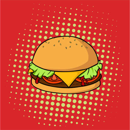 Delicious Hamburger, Junk Food, Pop Art Vector Design, Illustration