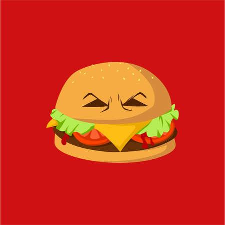 Danger Burger Monster Vector Design, Illustration Vettoriali