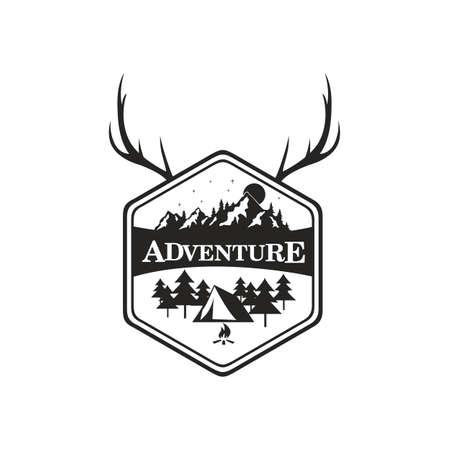 산 모험, 캠핑 배지 벡터 로고 템플릿