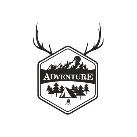 Mountain Adventure, Camping Badge Vector Logo Template Illustration