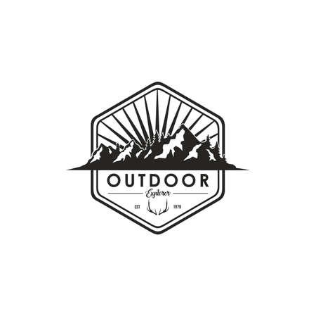 Forest, Mountain Adventure Deer Antlers, Black And White Badge Vector Logo Template