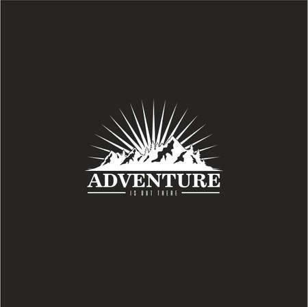 숲, 산 모험 버스트 배경 흑인과 백인 배지 벡터 로고 템플릿 일러스트
