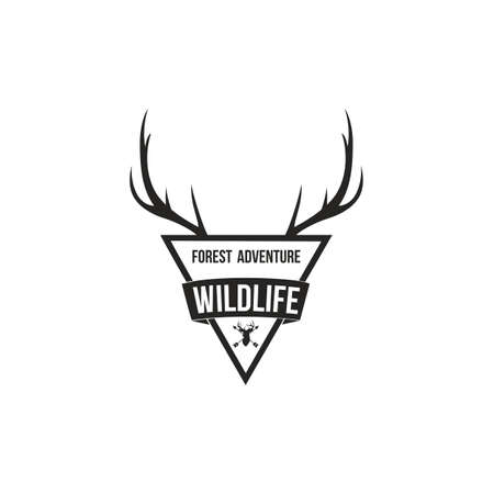 Forest Adventure with Antlers Badge Logo Design Template