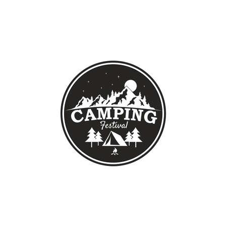 캠핑 축제, 산 모험 배지 벡터 로고 템플릿