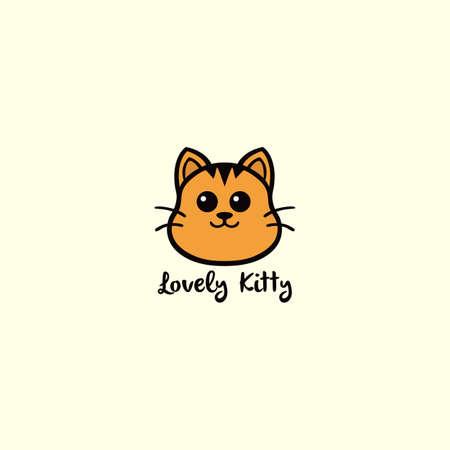 사랑스러운 키티, 귀여운 고양이 노란색 로고 벡터 디자인 일러스트 레이션 일러스트