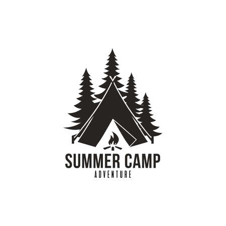 Forest Adventure, Summer Camp Black And White Badge Vector Logo Template  イラスト・ベクター素材