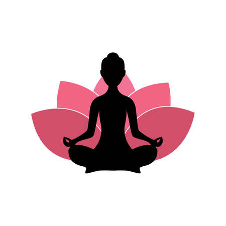 Yoga Woman Silhouette with Pink Lotus Flower