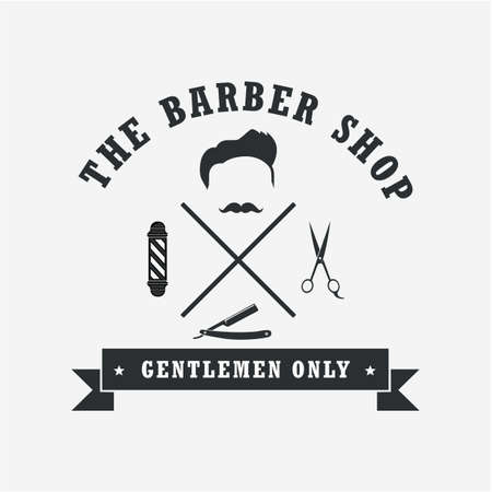 Barber Shop Badges Vintage Cool Design Elements. Logo, Labels, Banner, Emblems. Vector Illustration