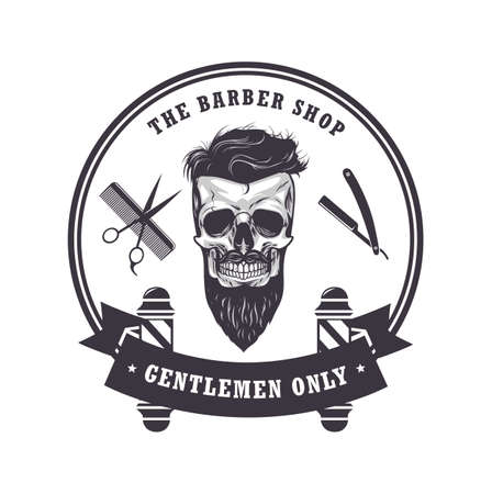 Skull vintage barber shop icon. Retro design template, vector illustration.