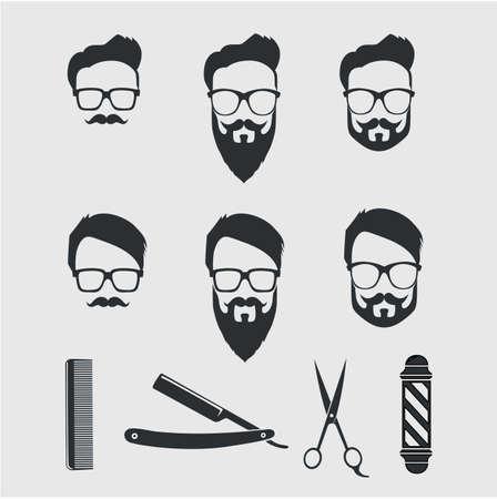 Vintage barber tools and elements. Vector illustration drawing. Illustration